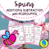 Spring Addition & Subtraction with Regrouping (Jokes & Riddles)