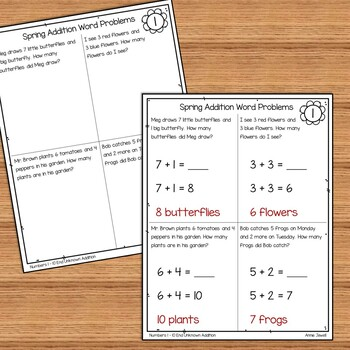 Spring Addition Word Problems Numbers 1 - 10 for Kindergarten and 1st Grade
