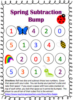 Spring Addition and Subtraction Bump Games (NO PREP!)