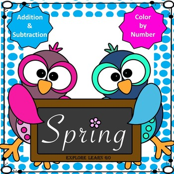 Spring Math / Two Digit Addition and Subtraction / Color b