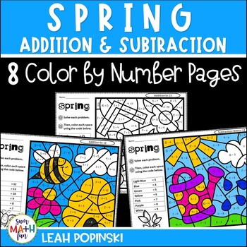Spring - Addition and Subtraction Color by Number