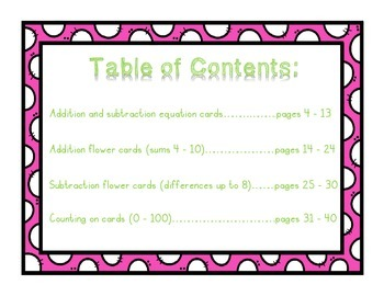 Spring Addition and Subtraction Equation Cards