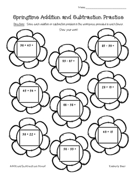Spring Addition and Subtraction Practice Worksheet Pack