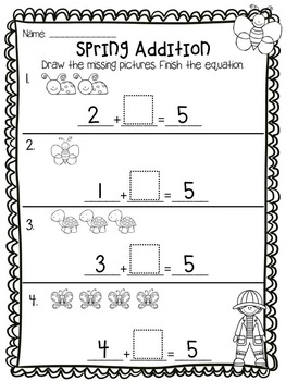 Spring Addition and Subtraction Printables and Games Bundle