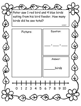 Spring Addition and Subtraction Story Problems, Kindergarten Version