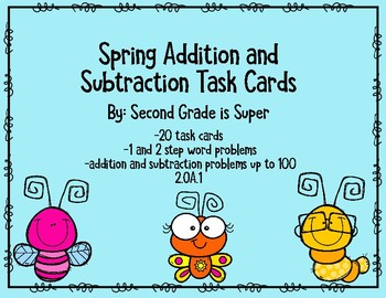 Spring Addition and Subtraction Task Cards