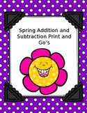 Spring Addition and Subtraction Worksheets. Print and Go!