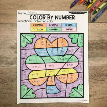 Spring Addition and Subtraction to 18 Color by Number No Prep Printables