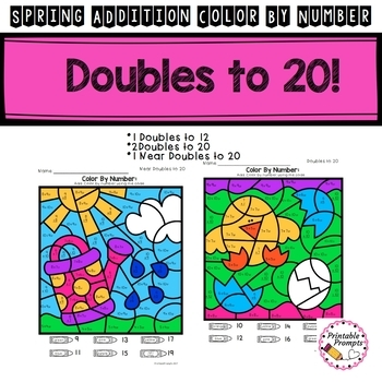 Spring Addition to 20 Color By Number Math Activity