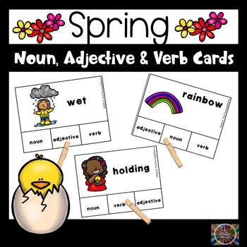 Spring Adjective, Noun and Verb Task Cards