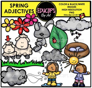 Spring Adjectives Clip Art Bundle {Educlips Clipart}