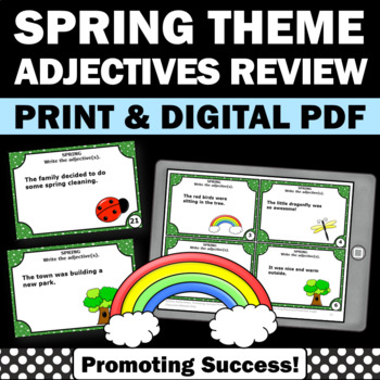 Adjective Task Cards, Spring or Summer School Activities, Parts of Speech Review