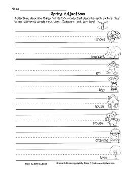 Spring Adjectives Worksheets