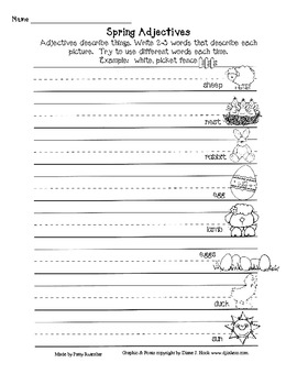 Spring Adjectives Worksheets