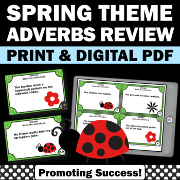 Adverb Task Cards, Parts of Speech Review, Spring or Summer School Activities