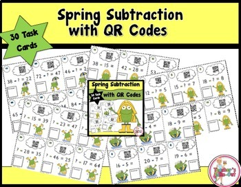 Spring Ahead Addition and Spring Subtraction Task Cards with QR Codes Bundled