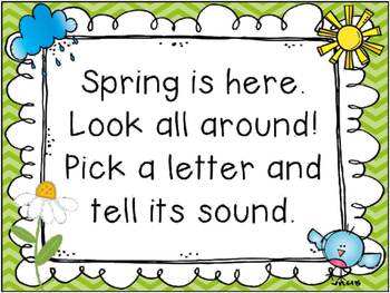 Spring Alphabet Cards and Poem for Letter and Sound Identification