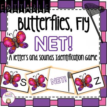 Spring Alphabet Phonics Game EDITABLE: Butterflies and Nets