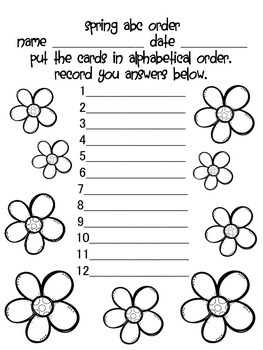 Spring Alphabetical order activity
