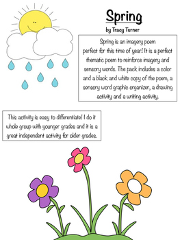 Spring! An imagery poem and sensory detail writing and illustrating activity.