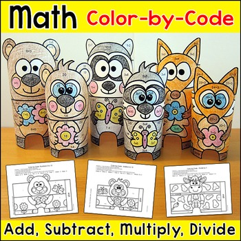 Spring Animal Babies & Mothers Color by Number 3D Characters - Spring Activities