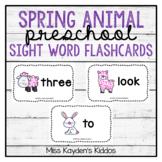 Spring Animal Preschool Sight Word Flashcards - PreK Literacy Centers