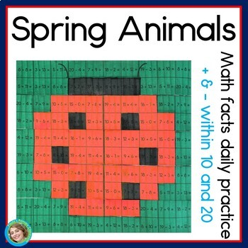 Spring Animals Addition and Subtraction within 20 daily math facts
