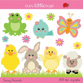 Spring Animals Clipart - Includes color and blacklines