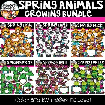 Spring Animals Growing Bundle {Spring Clipart}