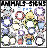 Spring Animals With Signs Clip Art - Whimsy Workshop Teaching