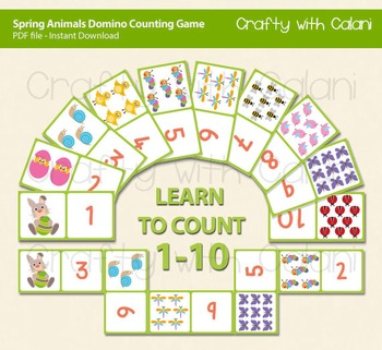 Spring Animals and Easter Theme Domino Cards, Counting Game 1-10