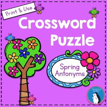 Spring Antonyms Crossword Puzzle By Hedgehog Reader Tpt