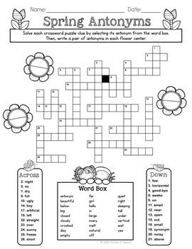 Spring Antonyms Crossword Puzzle