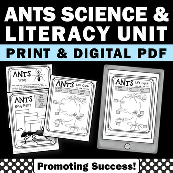 Ants Science and Literacy Worksheets Packet