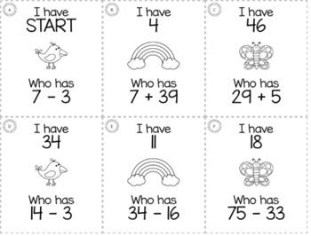 "Spring April 2nd  Grade ""I Have, Who Has"" Math Game Bundle"