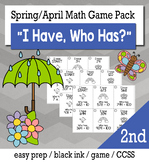 "Spring April 2nd  Grade ""I Have, Who Has"" Math Game Bundle"