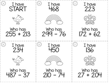 "Spring April 3rd  Grade ""I Have, Who Has"" Math Game Bundle"