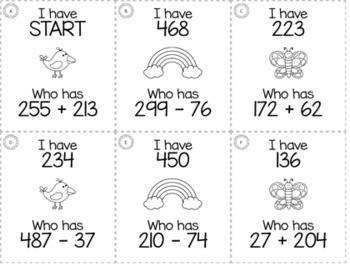 "Spring April 3rd  Grade ""I Have, Who Has"" Math Game Bundle"