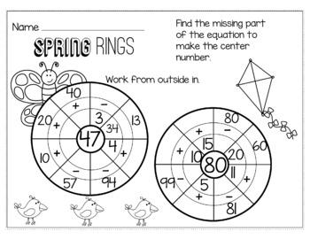 Spring April Math for 2nd Grade - NO PREP Packet