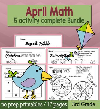 Spring April Math for 3rd Grade - NO PREP Packet
