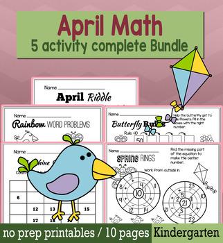 Spring April Math for Kindergarten - NO PREP Packet