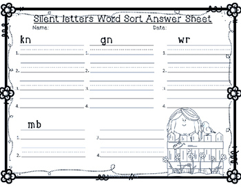 Spring, April Silent Letters (gn,kn, mb, wr) word sort