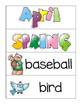 Spring/April Word Wall and Write the Room
