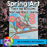 Spring Art Lesson, Finch and Cherry Blossoms