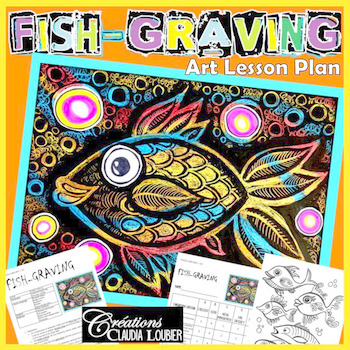 Spring: Art Lesson for Kids: Fish-Graving