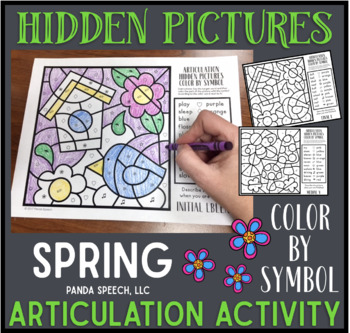 Spring Articulation Color by Symbol Hidden Images A Speech Therapy Activity
