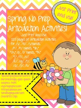 Spring Articulation NO PREP Speech Therapy Activities