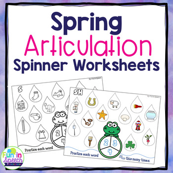 Spring Articulation Spinner Worksheets w/ Pictures - Minimal-No Reading Required