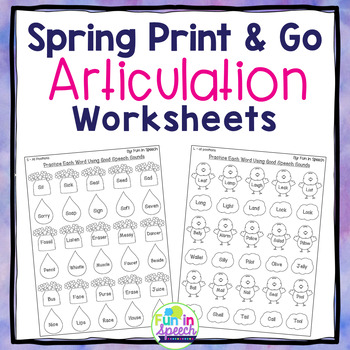 Spring Print & Go Articulation Worksheets for 25 Sounds & Blends!