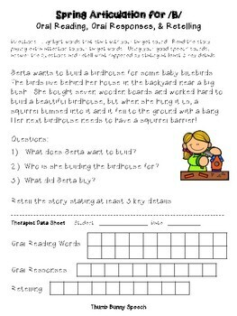 Spring Articulation for Oral Reading, Responses & Oral Retelling
